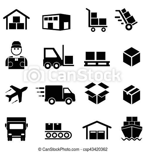 logisztika, rakomány, eloszlatás, hajózás, ikonok - csp43420362