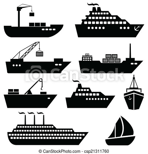 logisztika, rakomány, ikonok, hajózás, hajó, csónakázik - csp21311760