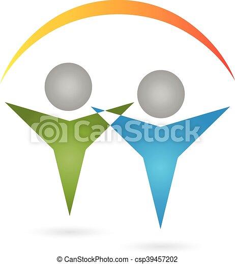 Logo, 3D, Menschen, Paar - csp39457202