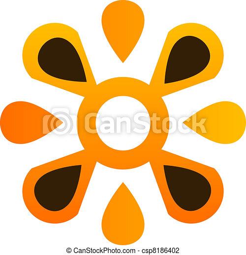 logo, abstrakt, blomst - csp8186402
