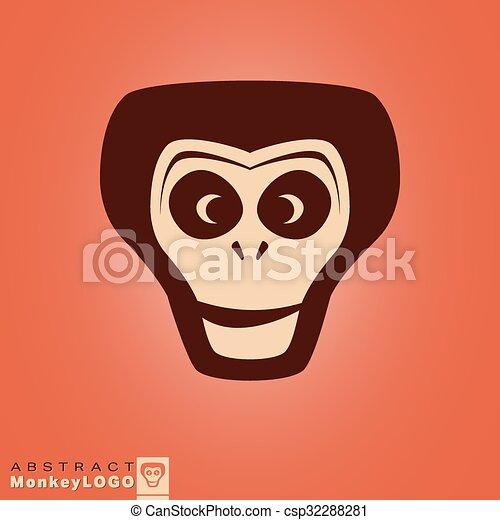 Logo, affe, schablone. Monkey., illustration., symbol,... Vektor ...