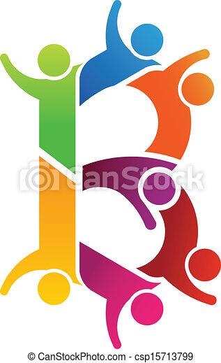 logo, b, lettre, gens - csp15713799