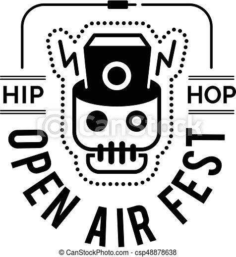 Logo Badge For Music Festival With Monitor Speaker Inside The Skull