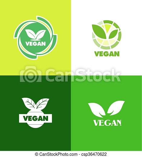 logo, badge, vegan, pictogram - csp36470622