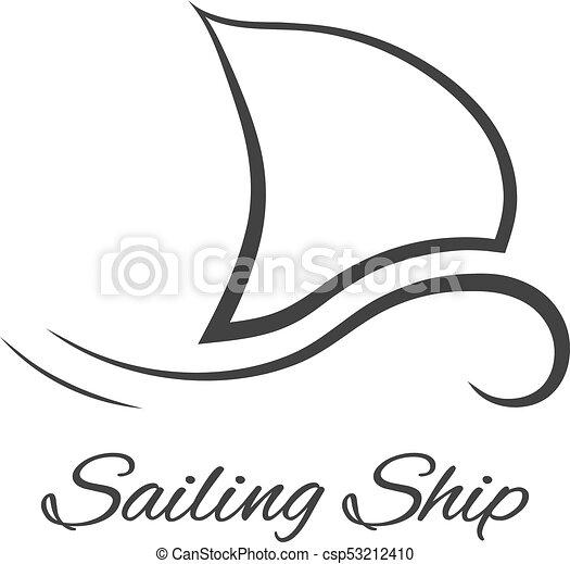 Logo Bateau Noir Voile Concept Tendance Naval Moderne Race