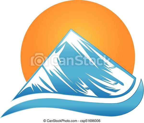 logo, berg, zon - csp51696006