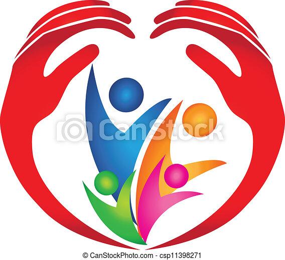 logo, beschermd, gezin, handen - csp11398271
