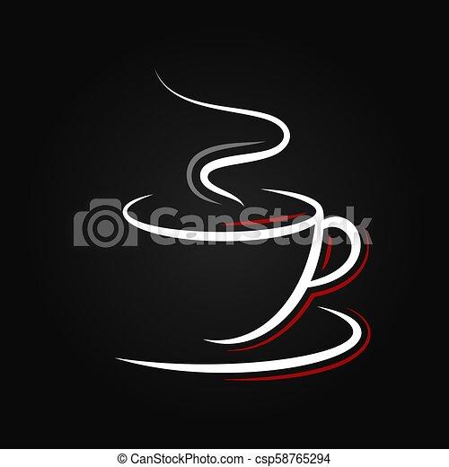 logo, café, arrière-plan noir, tasse - csp58765294