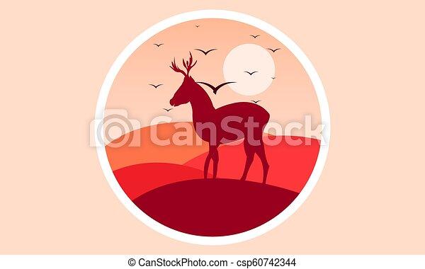 logo, cerf, coucher soleil - csp60742344