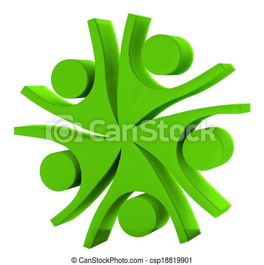 logo, collaboration, compagnie, vert, 3d - csp18819901