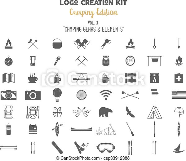 Camping Edition Set Travel Gear Vector Camp Symbols And Elements Create