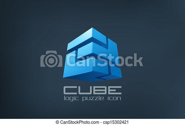 Logo cube technology abstract. Logic Puzzle box icon. - csp15302421