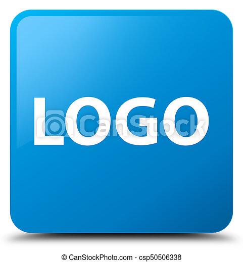 Logo cyan blue square button - csp50506338