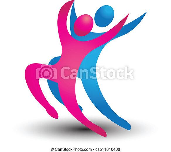 logo, danseur, figures - csp11810408