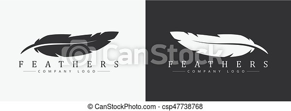 Logo design with feather and company name, for a writer or publishers. - csp47738768