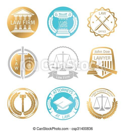 logo, droit & loi, ensemble, bureau - csp31400836