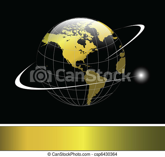 Logo earth globe gold - csp6430364