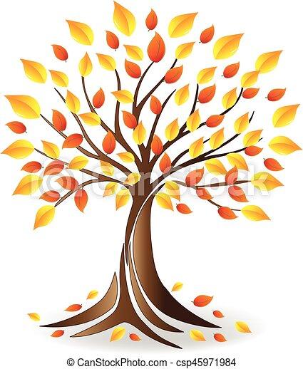 Logo Ecology fall tree family - csp45971984