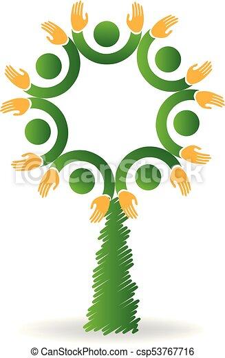 logo, enhed, folk, træ, ikon - csp53767716