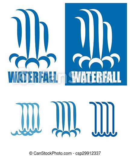 logo, ensemble, chutes d'eau - csp29912337