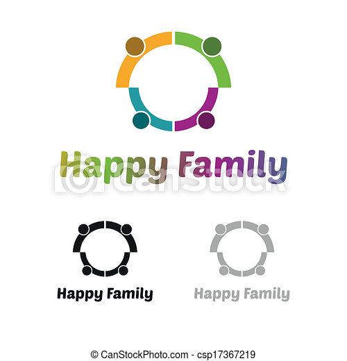 logo, famille, heureux - csp17367219