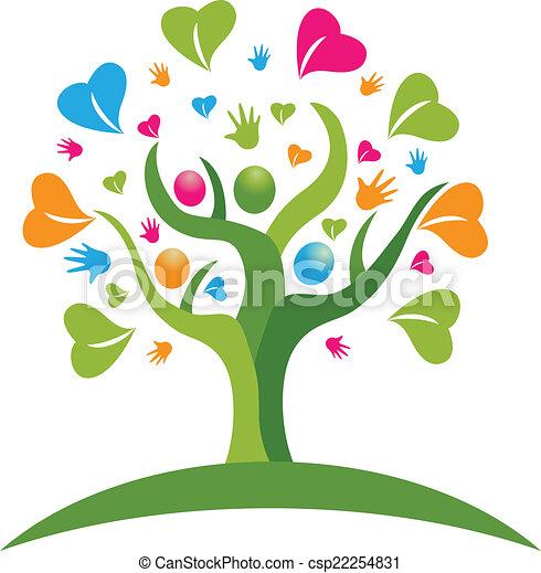 logo, figuren, hartjes, boompje, handen - csp22254831