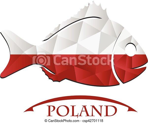 logo, fish, fait, drapeau, poland. - csp42701118