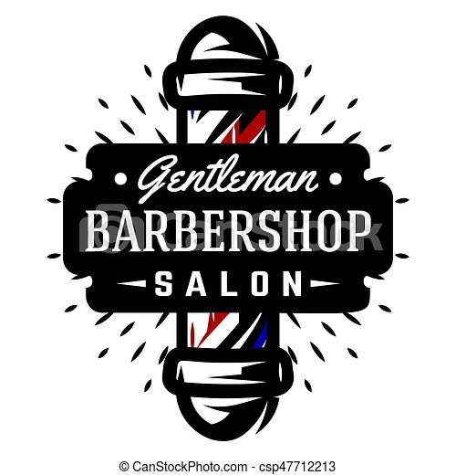Logo for barbershop with barber pole - csp47712213