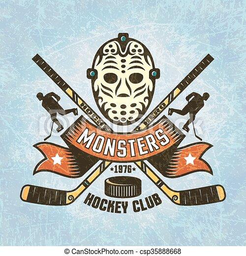 Logo For Hockey Team Retro Goalie Mask Crossed Hockey Sticks Puck
