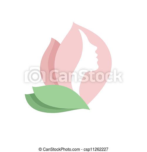 logo, frau, blume- knospe, -vector - csp11262227