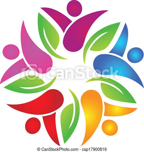 logo, gemeinschaftsarbeit, bunte, leute - csp17900819