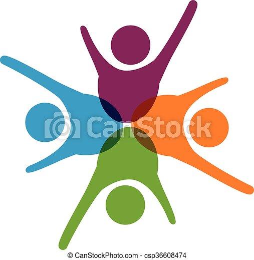 logo, gemeinschaftsarbeit, erfolg - csp36608474