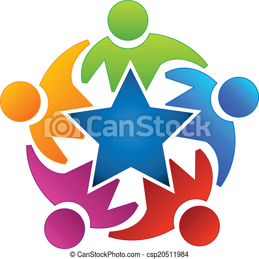 Teamwork Star People Icon Logo - csp20511984