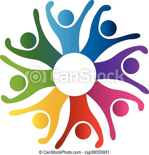 logo, gens, fête - csp39355931