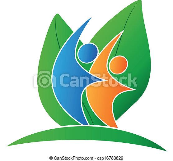 logo, glade, det leafs, folk - csp16783829