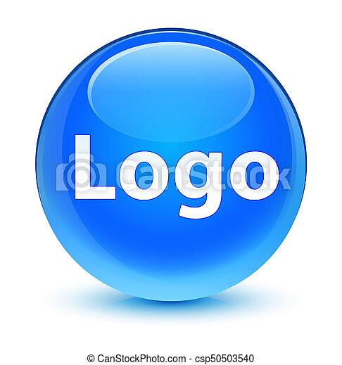 Logo glassy cyan blue round button - csp50503540