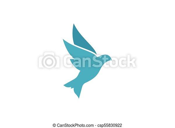 Logo Gołębica Szablon Ilustracja Ptak Wektor Szablon Logo