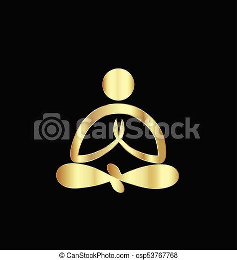 Logo gold yoga man - csp53767768