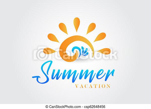 logo, golven, zon - csp62648456
