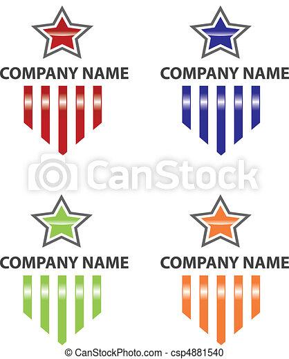 logo, gwiazda, pasy - csp4881540