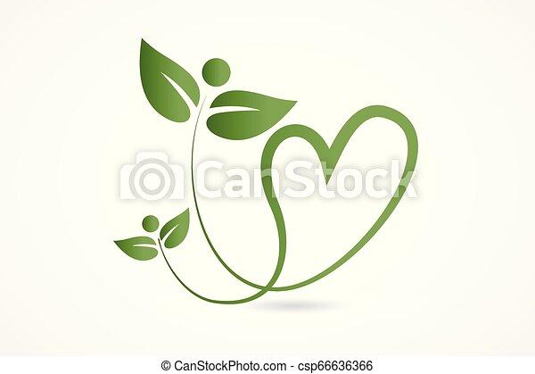 Logo health nature love heart leafs - csp66636366