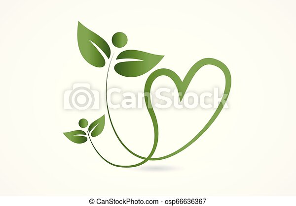 Logo health nature love heart leafs - csp66636367