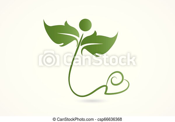 Logo health nature love heart leafs - csp66636368