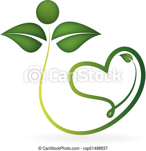 Logo healthy leafs with heart shape - csp51498837