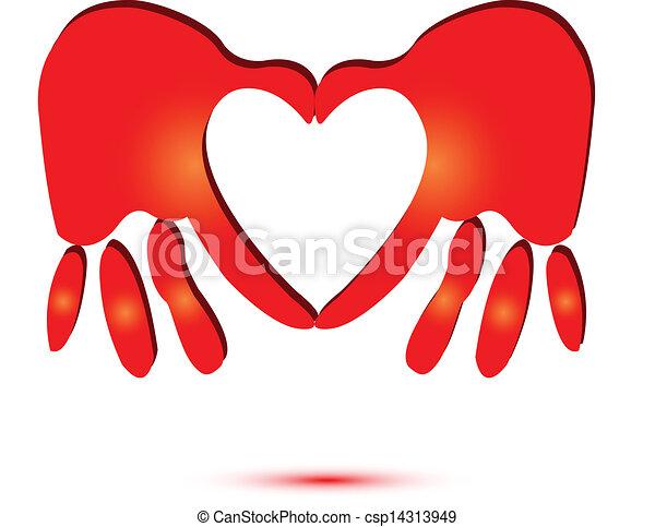 logo, hjärta, symbol, röd, räcker - csp14313949