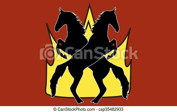 Logo horse silhouette vector illustration - csp35482933