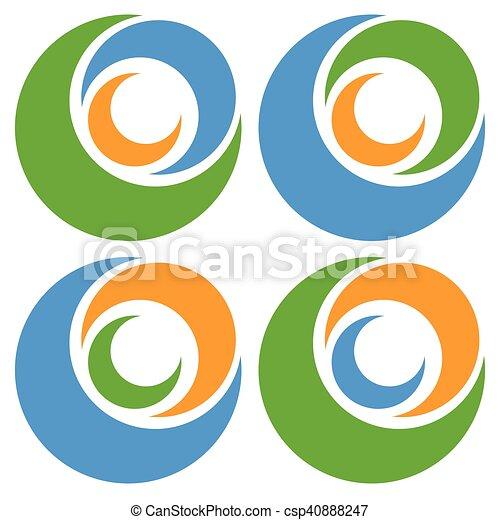 Logo Icon Shape With 3 Circles Spiral Vortex Logo