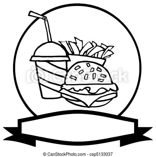 logo, jeûne, esquissé, nourriture - csp5133037