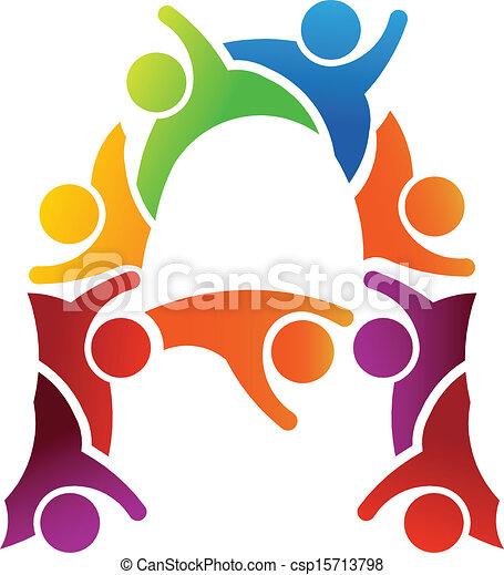 logo, lettre, gens - csp15713798