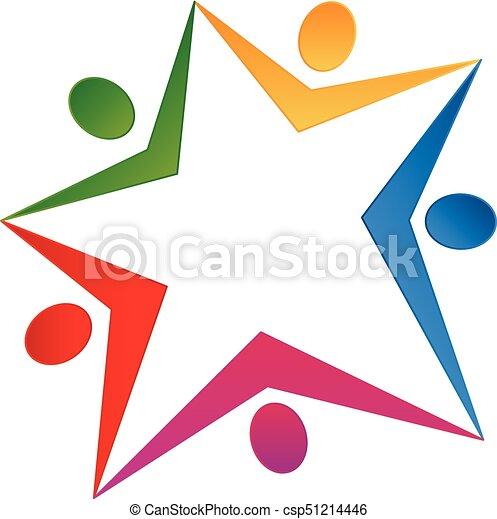 Teamwork Leute farbenfrohes Star-Logo - csp51214446